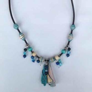 160509 ネックレス(天然石 縞メノウ・ブルー)