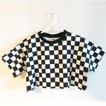 bloc checkショートTシャツ/black×white