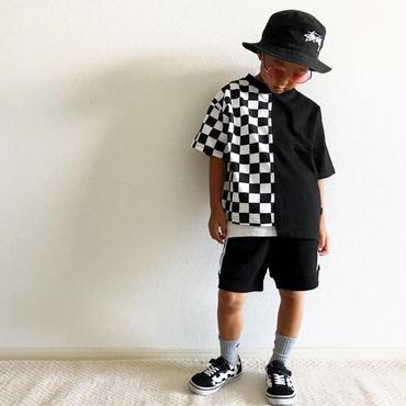 ブロックチェックTシャツ/black×white