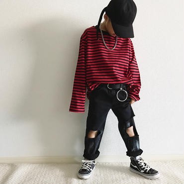 【special price】ボーダーロンT/red×black