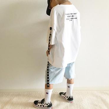 星ストラップ付きTシャツ/white