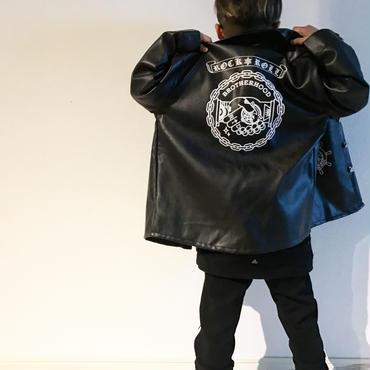 柄プリントレザーjacket/ブラック