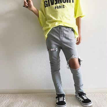 穴あきダメージパンツ/grey