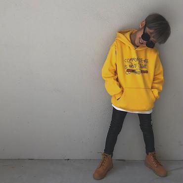 【再入荷】プリント裏起毛パーカー/yellow