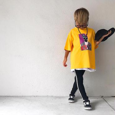 KINGプリントTシャツ/yellow