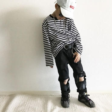 【special price】ボーダーロンT/white×black