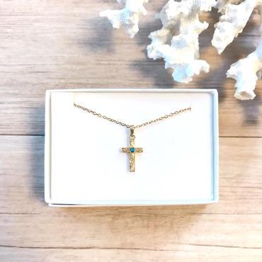 《1週間待ち》Leinaniオリジナル ハワイアンジュエリー 十字架×ターコイズネックレス