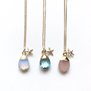 《14kgf》stone x starfish necklace