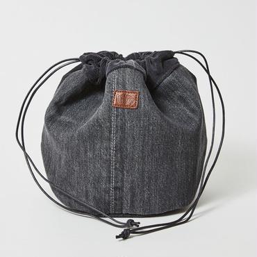 レターズ 巾着バッグ #ブラックデニム×コーデュロイ-04