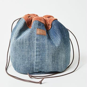 レターズ 巾着バッグ #デニム×コーデュロイ-03