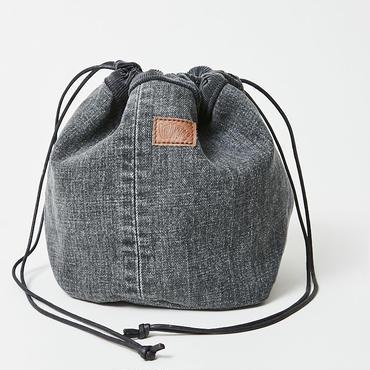 レターズ 巾着バッグ #ブラックデニム×コーデュロイ-01