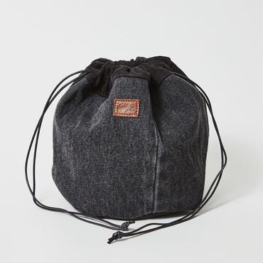 レターズ 巾着バッグ #ブラックデニム×コーデュロイ-03