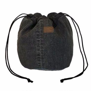レターズ ドロゥストリングバッグ #ブラックデニム×コーデュロイ-01