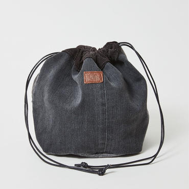 レターズ 巾着バッグ #ブラックデニム×コーデュロイ-05