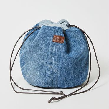 レターズ 巾着バッグ #デニム×コーデュロイ-01