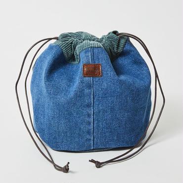 レターズ 巾着バッグ #デニム×コーデュロイ-02