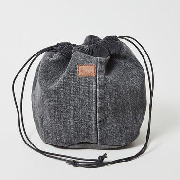 レターズ 巾着バッグ #ブラックデニム×コーデュロイ-02