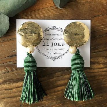 2種グリーンのフランスタッセルピアス