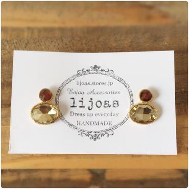 シャンパンゴールド × トパーズ色のアンティーク調ピアス