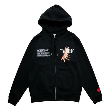 -TWISTED- FRONT ZIP HOODIE (BLK)