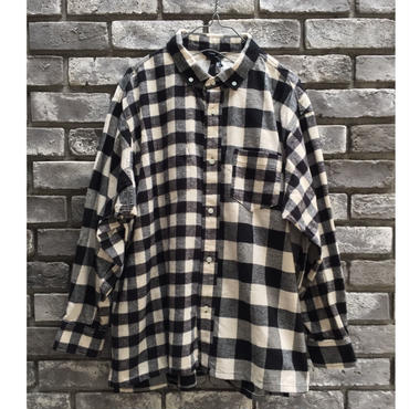 【Breechez】クレイジーパターン ブロックチェック ボタンダウン オーバーシャツ