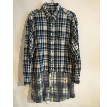 Remake flannel check  long shirt
