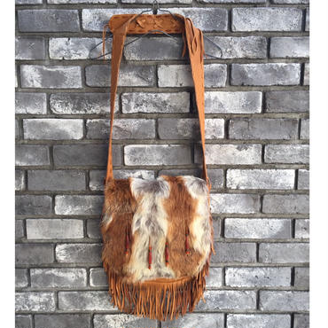 期間限定【E.V.T】Shoulder Bag w Fur Frap w Fringe