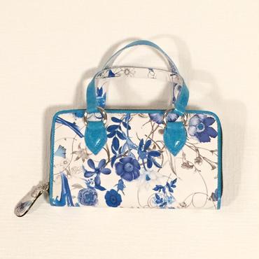 TANGO 持ち手付き長財布・ブルー花柄