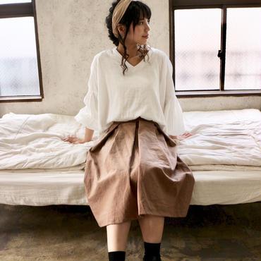 【受注生産】綿麻コットンリネンのサイドファスナータックフレアスカート(モカ)