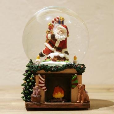 【スノードーム】暖炉の上のサンタ