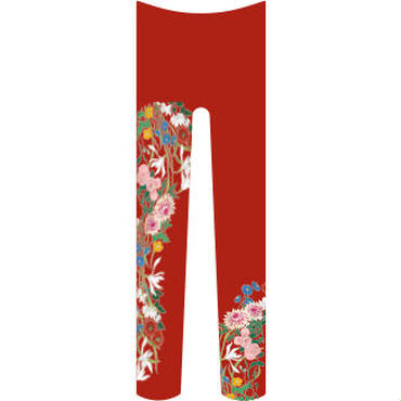 花(続き柄) タイツ 紅海老茶色