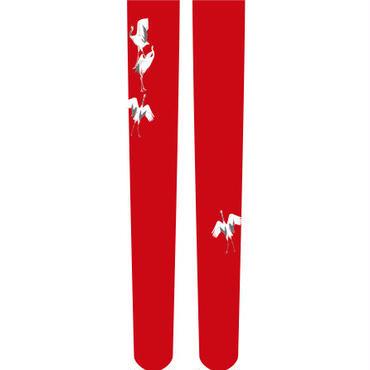鶴 ニーソックス  ワンポイント 紅葉色
