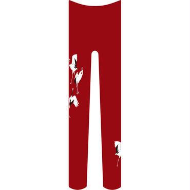 鶴 タイツ ワンポイント 紅葉色