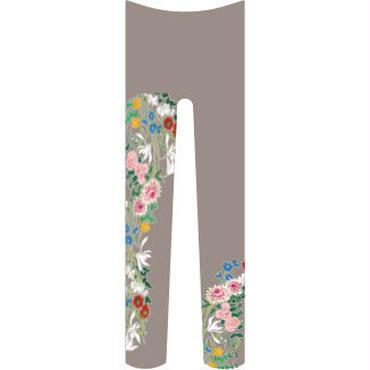 花(続き柄) タイツ 雉鳩色