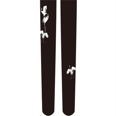 鶴 ニーソックス  ワンポイント 黒色