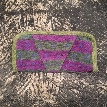 mash mashRe-28 Wallet w/Hand Stitch (GREEN × PURPLE)