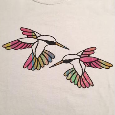 """【 tr.4 suspension 】""""Humming Bird"""" EDITION PRINT S/S TEE ( WHITE / #11 - SIZE : L )"""