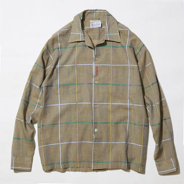 """【 PAPERMIC × LONG SET 】#9 """"WHILSHIRE"""" 70's CHECK L/S SHIRT ( BROWN / SIZE : M )"""