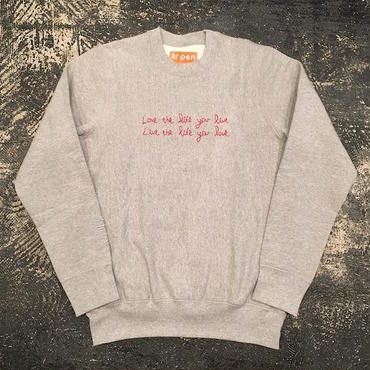"【 tr.4 suspension 】""WITTICISM"" Hand stitch crew neck sweat ( GREY )"