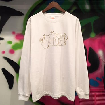 "【 LONG SET ORIGINAL 】LSD-008 ESPYONE ""THROW-UP"" L/S TEE (WHITE × GOLD LAME)"