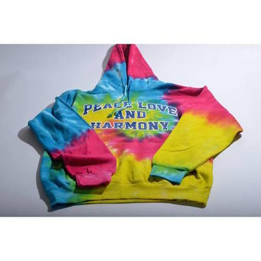 "【 tr.4 suspension 】""TIE DYE"" COLLEGE LOGO PULLOVER HOODED ( RAINBOW )"