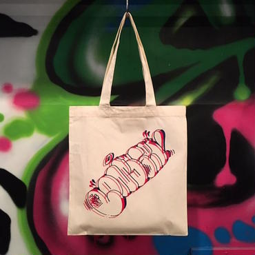 "【 LONG SET ORIGINAL 】LSD-007 ESPYONE ""THROW-UP"" TOTE BAG (NATURAL × RED/BLUE)"