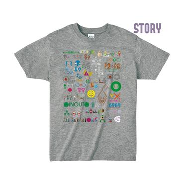 """【 ARIGATO FAKKYU 】""""STORY"""" PRINTED T-SHIRT ( #4 HEATHER GRAY )"""