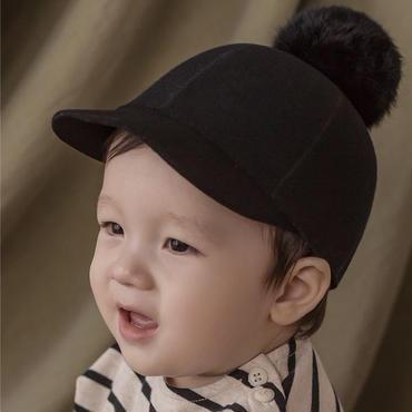 ポンポンウール帽