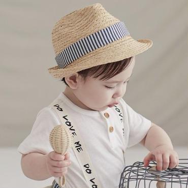 ストライプ麦わら帽子