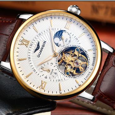 Guanqin トゥールビヨン腕時計 スケルトン