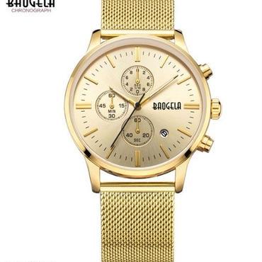 Baogelaメンズゴールドステンレス鋼クォーツ腕時計