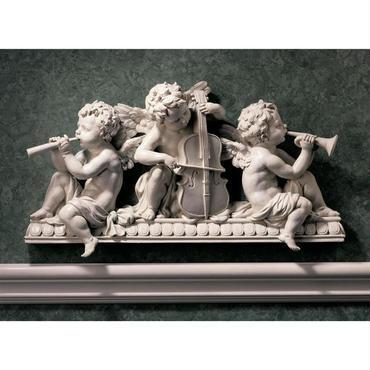 演奏する天使達 ウォールペディメント 彫刻 彫像