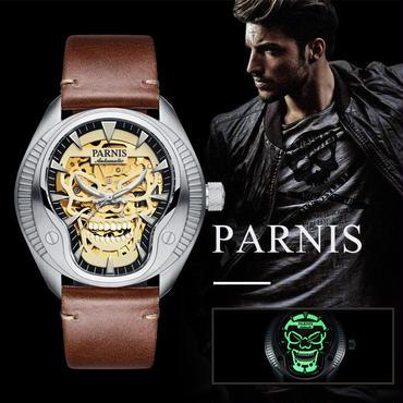 parnis watch パーニス時計 械式自動巻き 発光スカル サファイアクリスタル 43mm シルバー メンズ