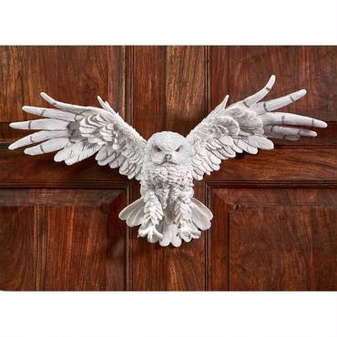 神秘的な妖精 白フクロウ(梟)の壁彫刻 彫像